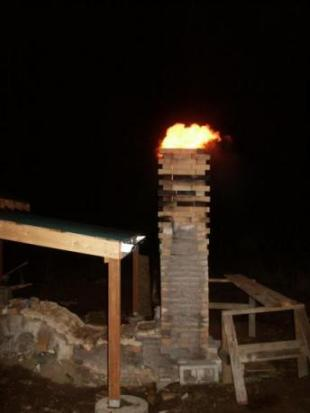 wind blown flame from anagama chimney