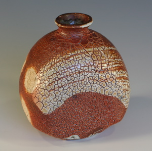 Salt Glazed Crackle Slip Bottle